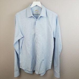 Kenzo Blue Long Sleeve Button Up Shirt Size 16